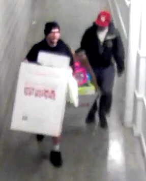 Two men with packages