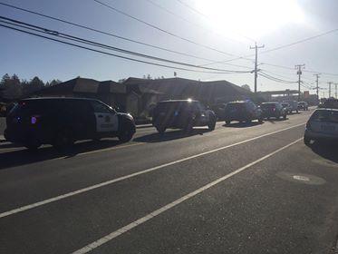 Line of Law enforcement vehicles