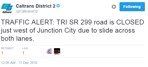 Tweet about a road closing from Caltrans