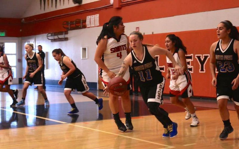 Shondra Moser bringing the ball down court against the St. Helena Saints last Friday night [Photo by Crystal Salomon]