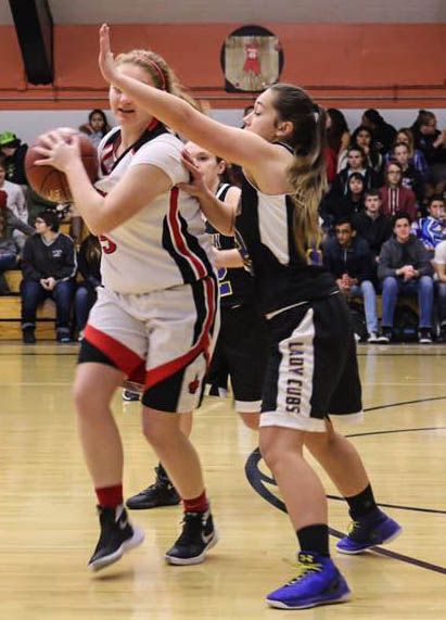 Regina Salomon playing defense against St. Helena last Friday night in Kelseyville [Photo by Crystal Salomon]