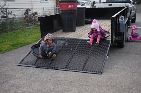 Children playing on trailer