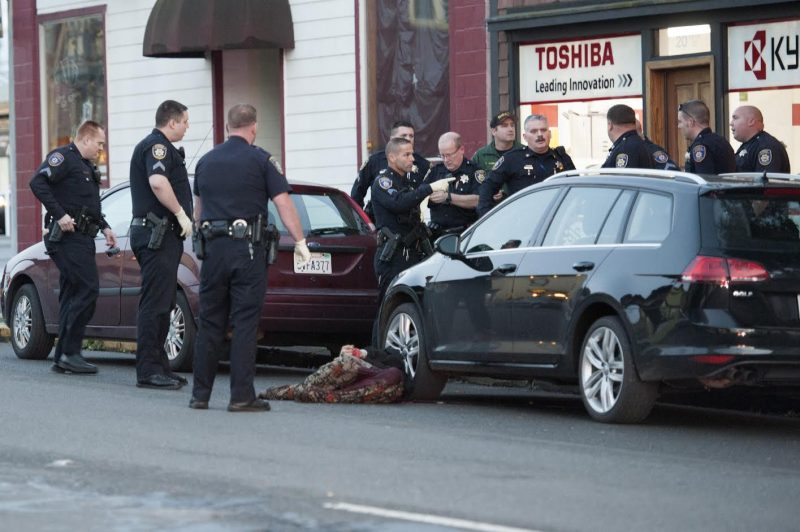 Officers secured the scene before clearing medical personnel to respond to the victim. {Photo by Mark McKenna]