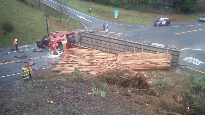 Overturned Lumber truck