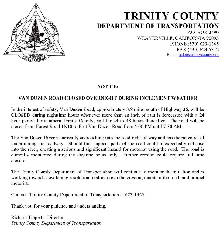 Letter from the Trinity co. DOT