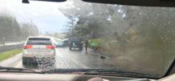 car accident through rainy window by Reader