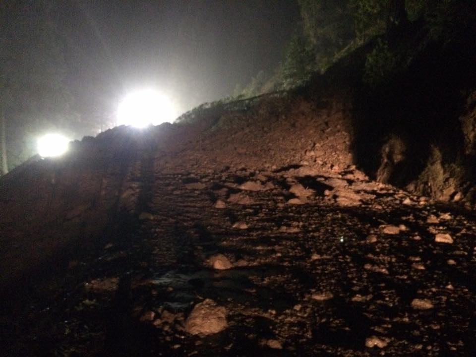 Slide covering road from Caltrans