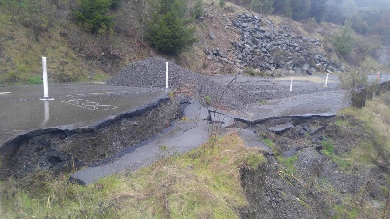 Slide closes country road