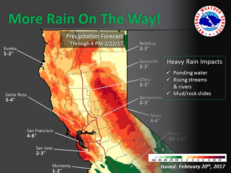 rain graphic for northern California
