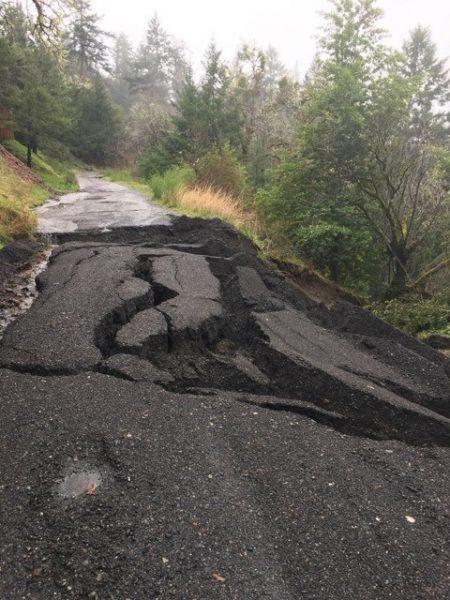 Crumpling asphalt road