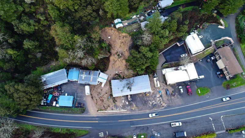 Overhead view of the mudslide that destroyed businesses i