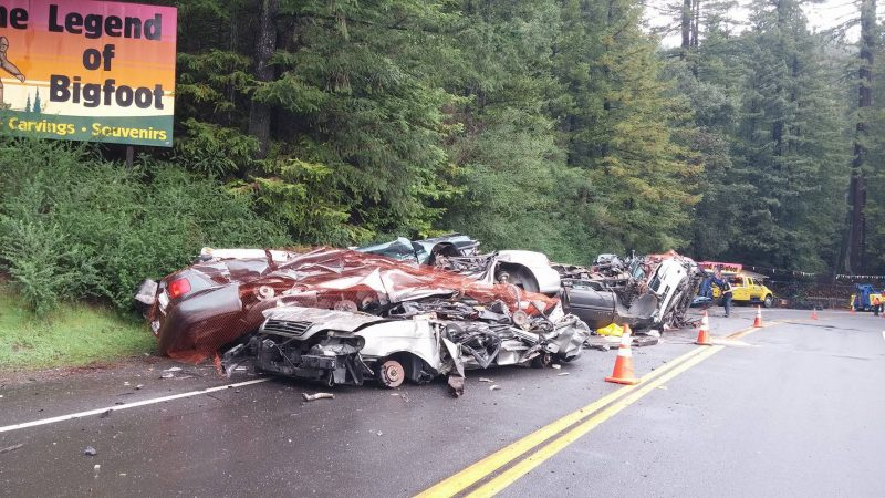 Smashed cars in semi wreck