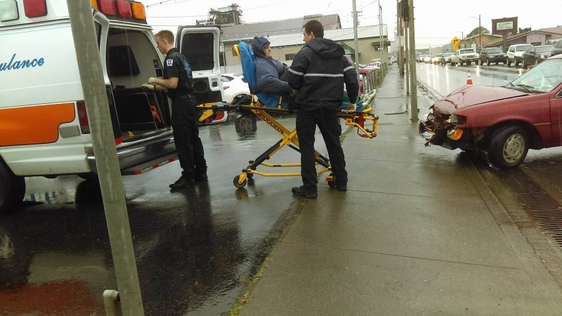Patient being taken to the hospital.