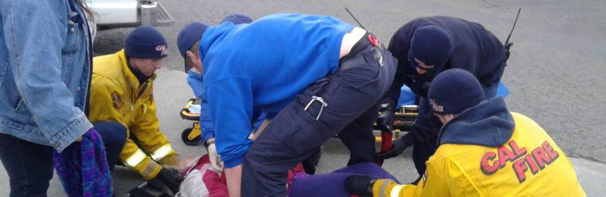 Elderly woman struck by a car