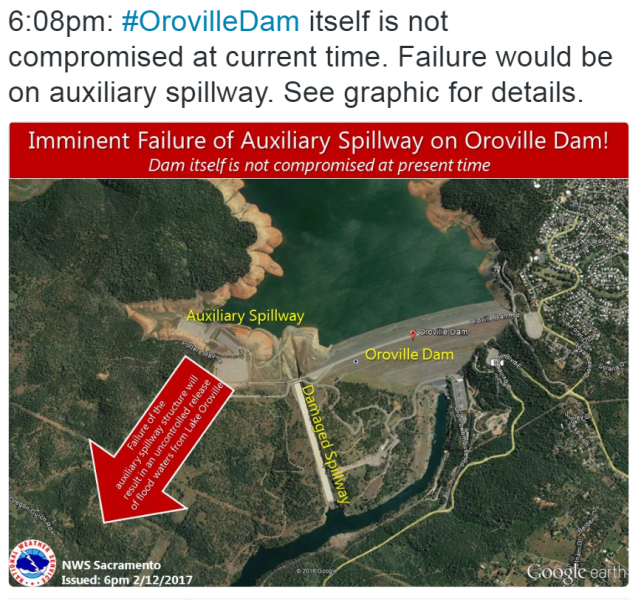 Graphic of possible flow from damaged spillway at Oroville dam