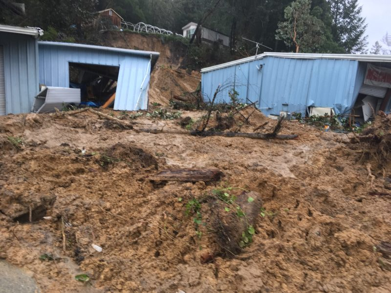 update 12 16 p m landslide collapses business in redway