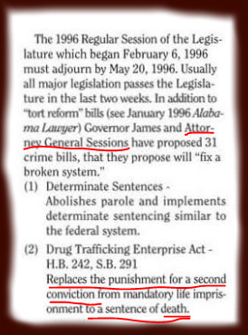 Highlighted portion of the Alabama Lawyer 1996