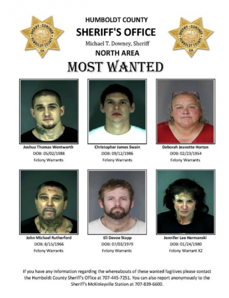 Most wanted poster Humboldt County