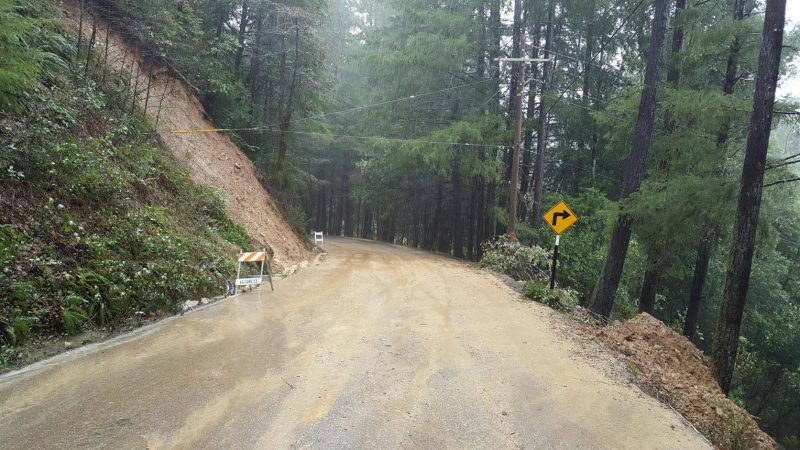 newly cleared slide on country road