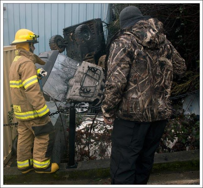 Thousands of dollars of equipment were tossed around by the slide.