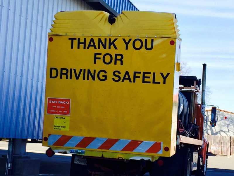 Thank you for driving safely. Road sign, traffic