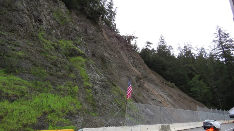 Bridges Creek slide on Hwy 101 north of Leggett.
