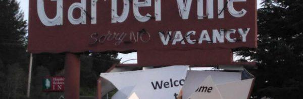 Garberville Motel sign smashed