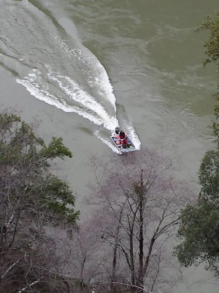 Rescue boat in the Klamath River.