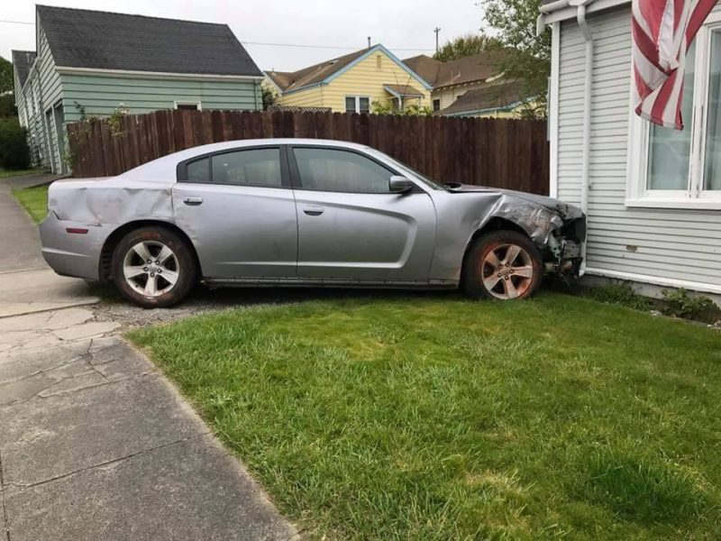 Vehicle hits house