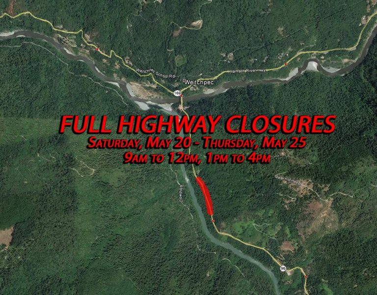 Map of closure of Hwy 96
