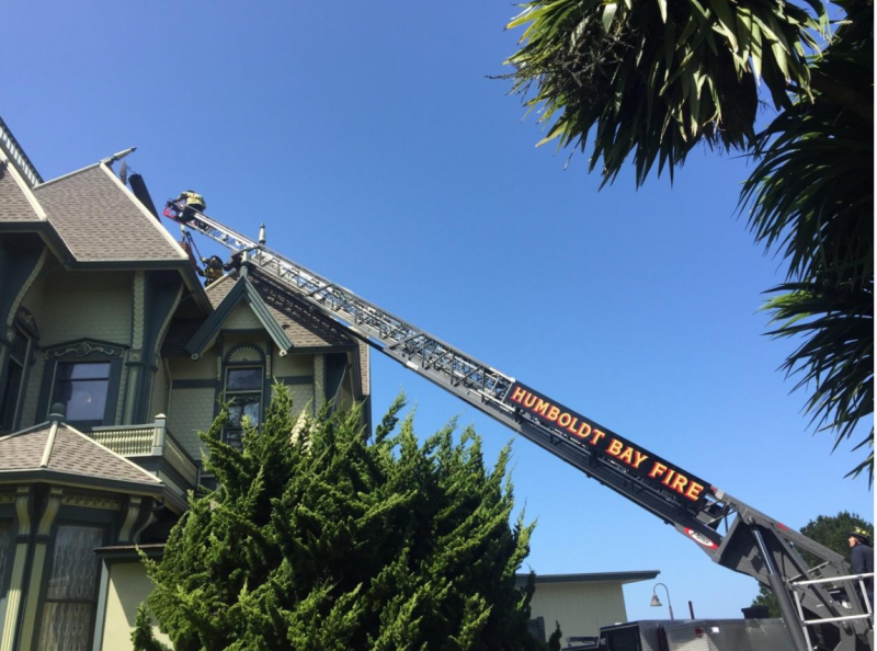 Humboldt Bay Fire repairs a chimney that was knocked down