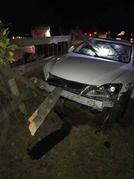 White car that hit a fence