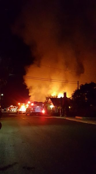 fire at night in Garberville
