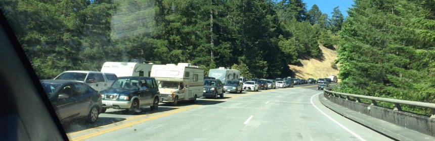 Traffic backing up onto the Eagle Point Viaduct south of Myers Flat