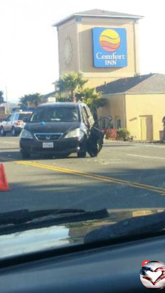 van hit by a motorcycle