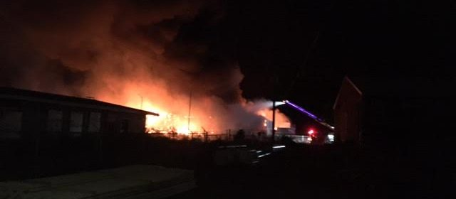 Commercial building on fire