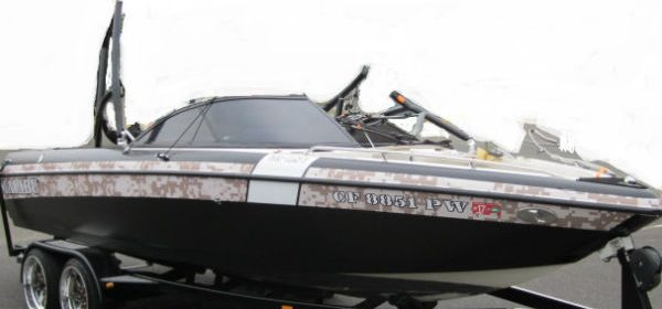 camo motor boat