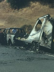 Burned truck and trailer