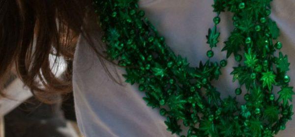Cannabis necklace mardi gras beads