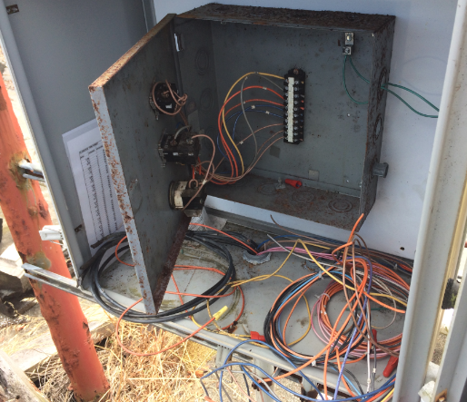 electrical box with cut wires
