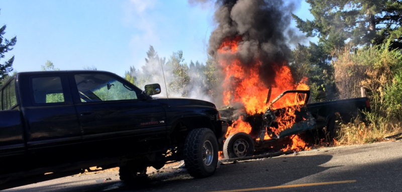 Car crash leads to fire