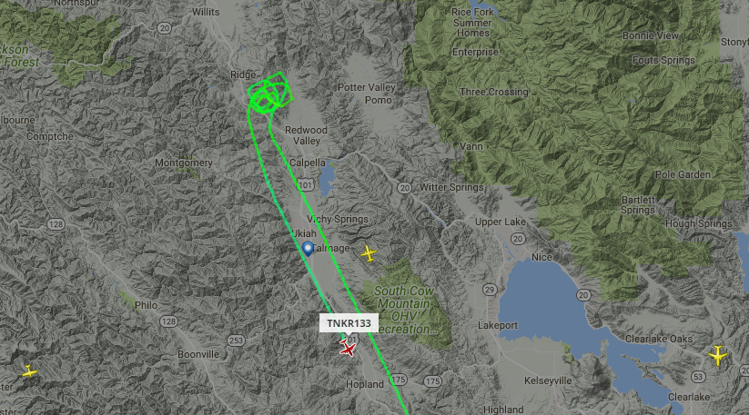 Flight path of a tanker on a fire.