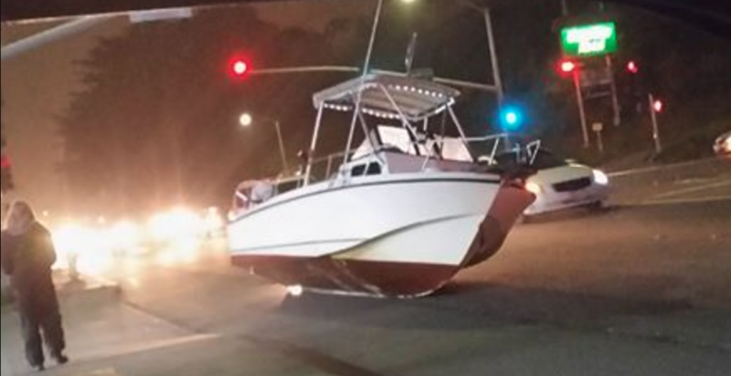 boat on a city street