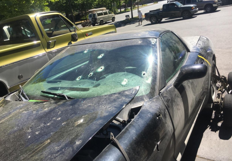Bullet holes after officer involved shooting
