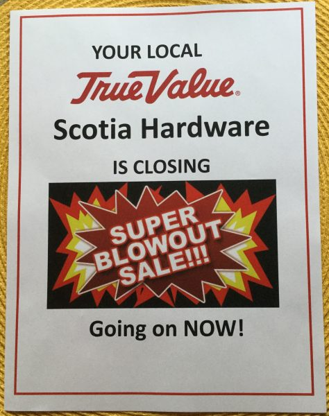 Advertising from Scotia Hardware about their retirement sale