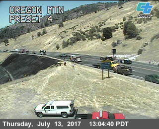 A burned area shows on the Caltrans Oregon Mt. traffic cam.