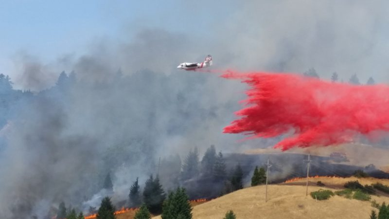 Plane dropping retardant on the Saw Fire.