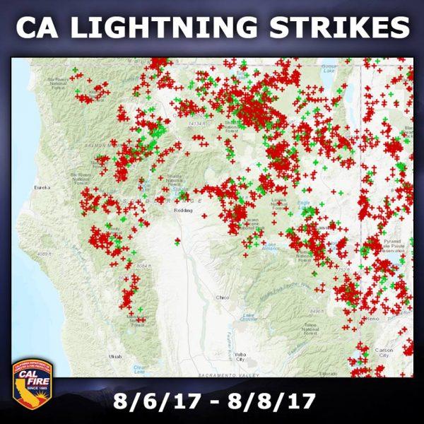 Lightning Strikes in California August 2017