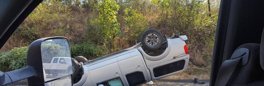 Rolled over suv