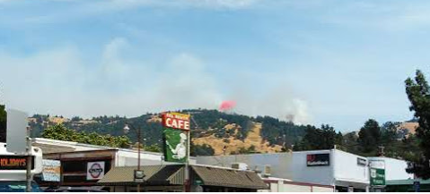 Fire in the hills above Garberville